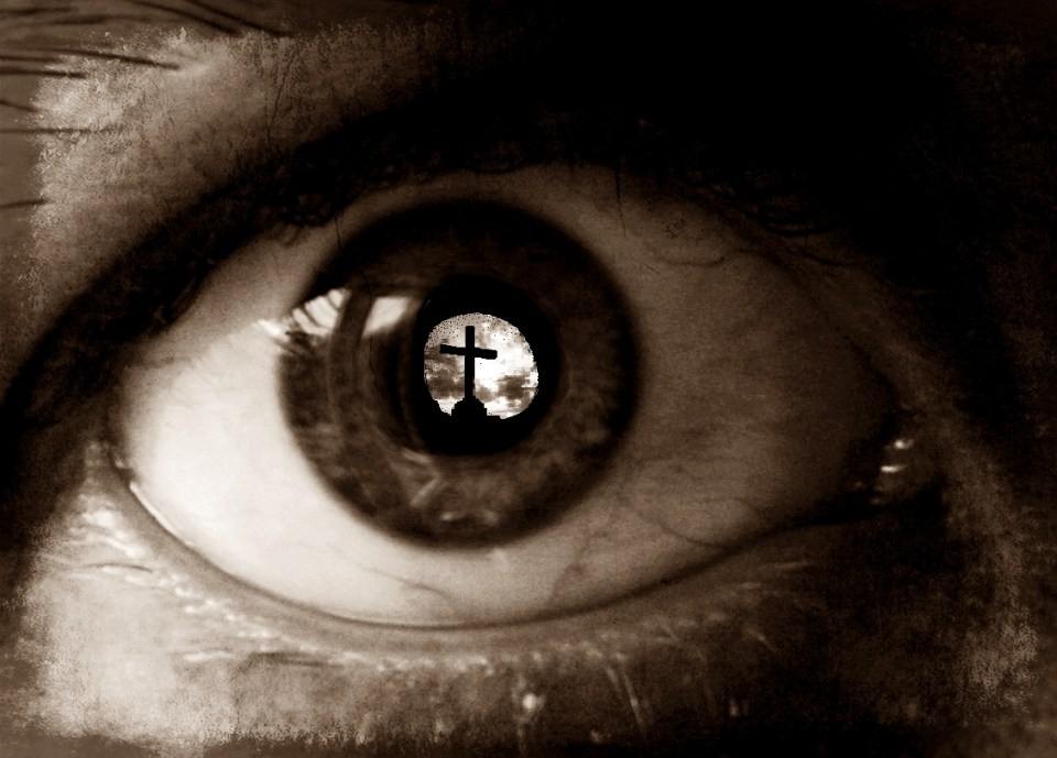 Sepia Eye Reflecting Cross