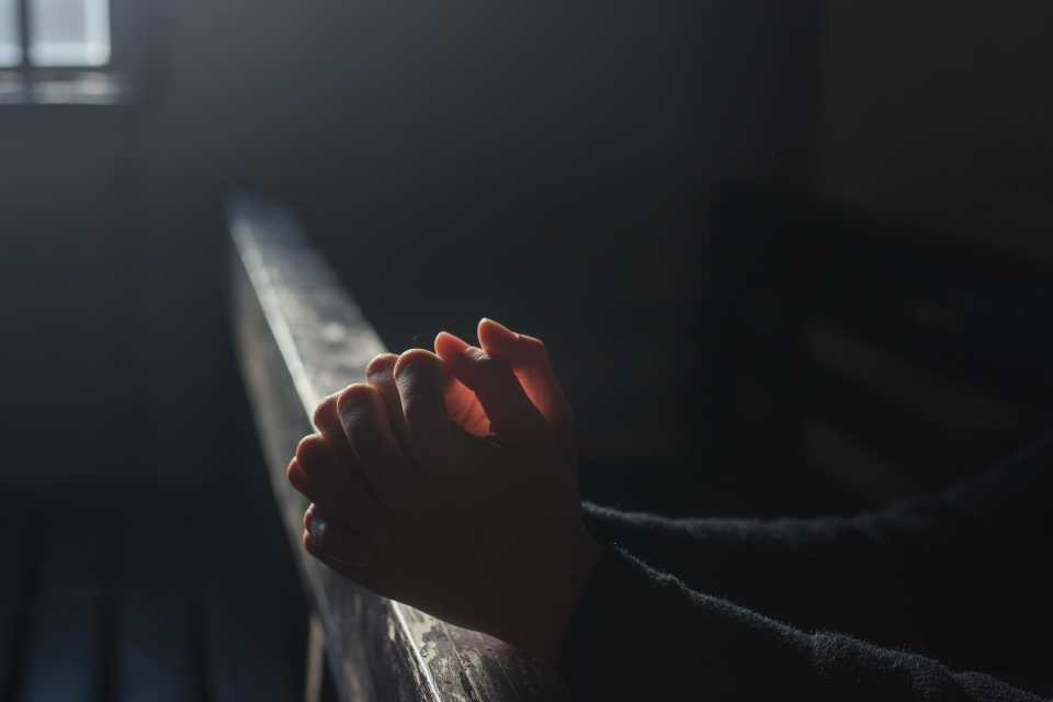 Praying hands via pxfuel - public domain