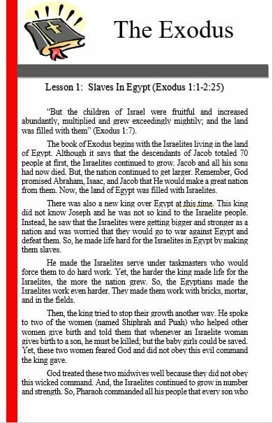 The Exodus (Lesson 1: Slaves In Egypt )