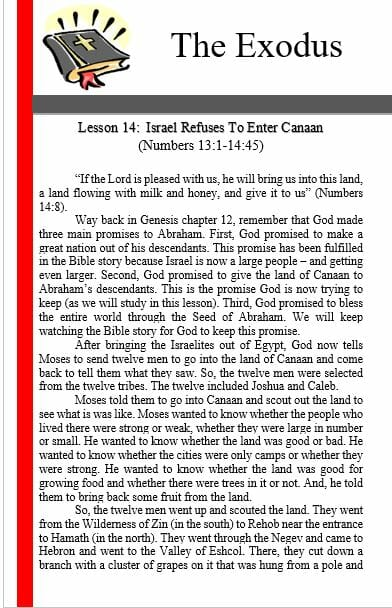 The Exodus (Lesson 14: Israel Refuses To Enter Canaan )