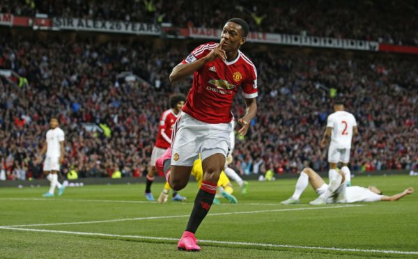 "Football - Manchester United v Liverpool - Barclays Premier League - Old Trafford - 12/9/15 Anthony Martial celebrates after scoring the third goal for Manchester United Action Images via Reuters / Carl Recine Livepic EDITORIAL USE ONLY. No use with unauthorized audio, video, data, fixture lists, club/league logos or ""live"" services. Online in-match use limited to 45 images, no video emulation. No use in betting, games or single club/league/player publications. Please contact your account representative for further details."