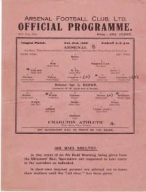 Le programme du match Arsenal - Charlton en 1939