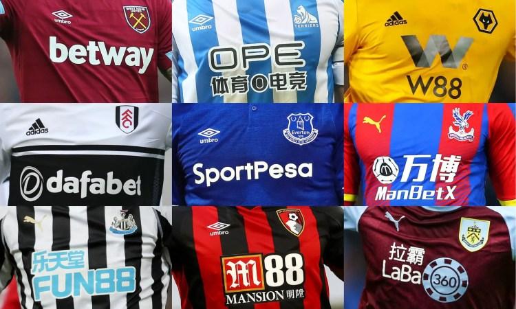 Une ribambelle de maillots sponsorisés par les jeux d'argent (Crédits: The Guardian)