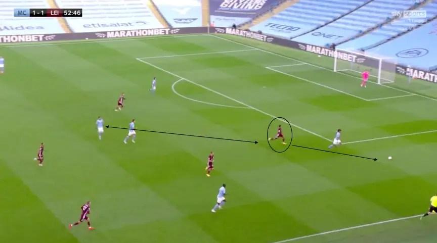 Justin, piston gauche contre Manchester City, continue son effort jusqu'à gêner Ake dans le couloir opposé au sien. Le pressing de toute l'équipe de Leicester paye. Les Foxes récupèrent une seconde fois la balle. Derrière, Tielemans lance en profondeur Castagne. Ce dernier centre à ras terre pour Vardy qui finit.