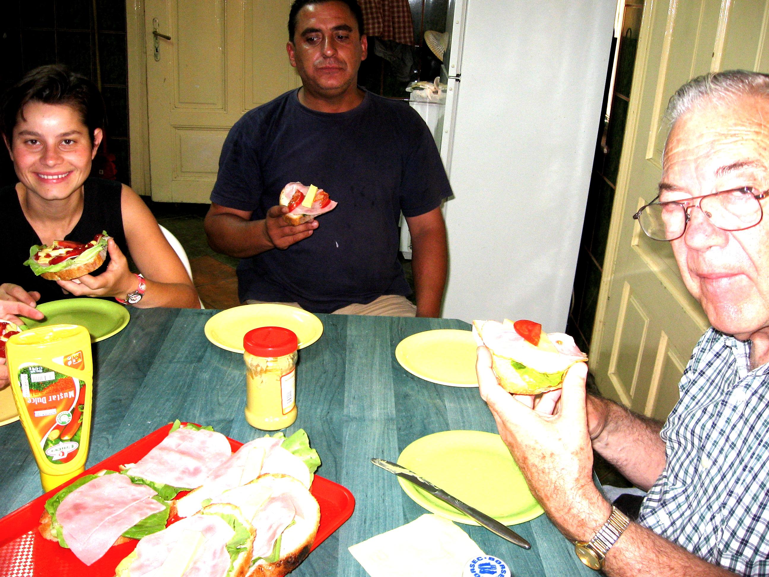 Marioara, Sebastian & Dan Enjoy Sandwiches at Agape