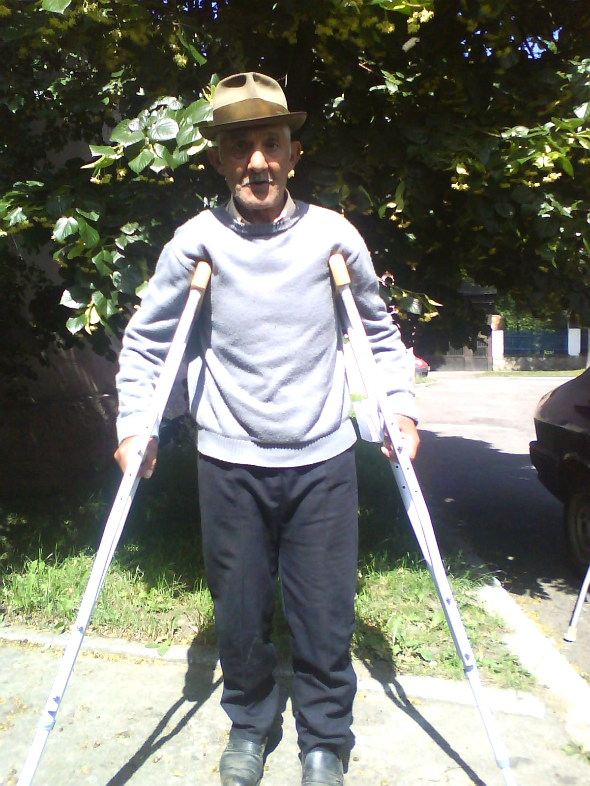 He thanks you for his adjustable crutches.