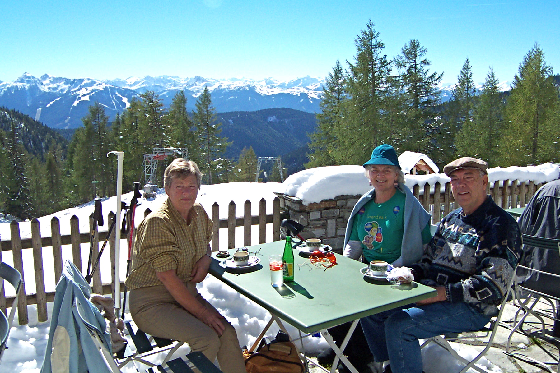 After a 45 minute hike up a trail above a sheer cliff, the van Geets and Boyds had lunch in Austria.