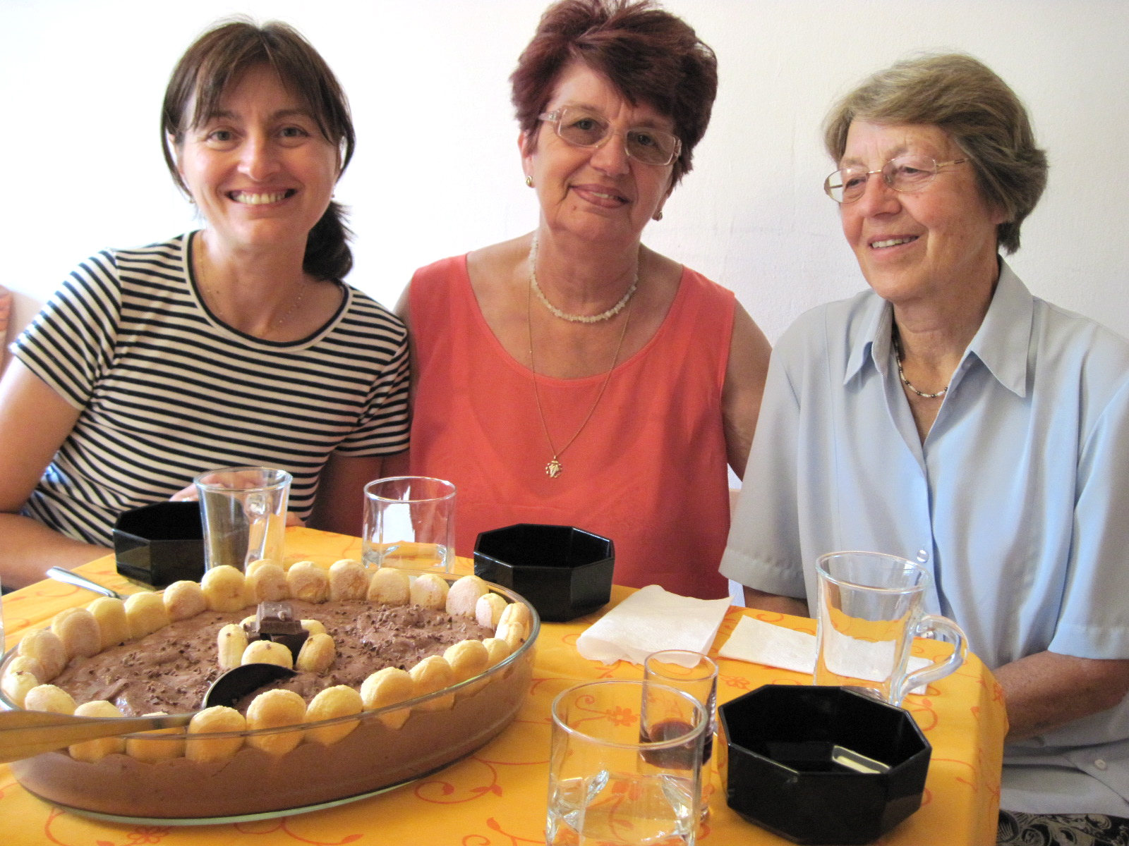 For dessert, Romanian Chocolate Trifle with Reka, her mom & Dr. Greta looking on in anticipation!