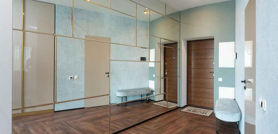 interior of corridor with mirror wardrobe