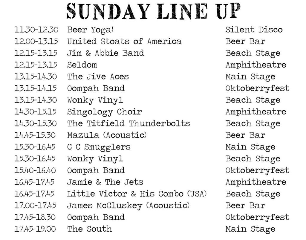 line up list 16 sunday