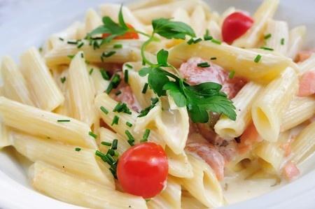 laks og pasta