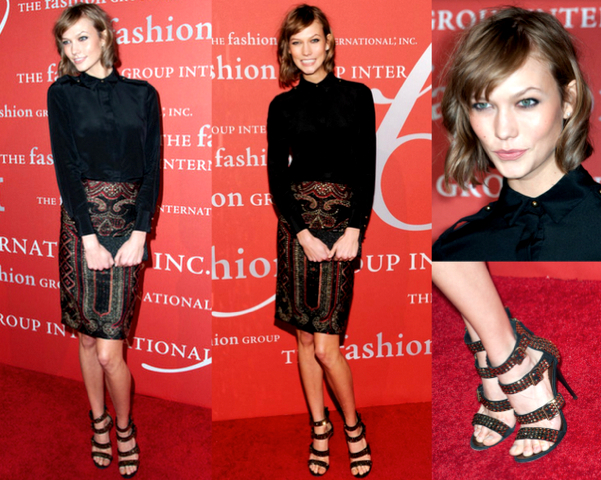 KARLIE KLOSS con camisa y falda lápiz - 30TH NIGHT OF STARS GALA