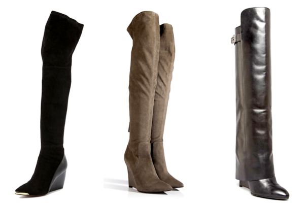 RACHEL ZOE Nico Over the Knee Boots, 561.27€ - SERGIO ROSSI Suede Over The Knee Wedge Boots in Stone Grey, 970€ - ENZO ANGIOLINI Over The Knee Wedge Boots, 276.67€