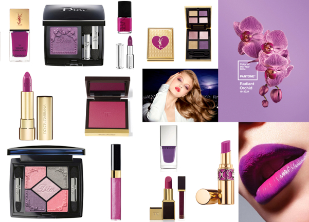 YVES SAINT LAURENT 'La Laque Couture' Nail Lacquer (14 Violine Surrealiste), 19.39€ - DIOR Dior Trianon Diorshow Mono (No.170 Angelique) - NARS - GIVENCHY Le Rouge Limited Edition 309 Croisière Fuchsia, $36 - YVES SAINT LAURENT 'Pure Chromatics' Eyeshadow, 42.67€ - DOLCE & GABBANA Classic Cream Lipstick Sicilian Jewels Collection, £27 - TOM FORD Cheek Color Blush, 43.44€ - DIOR Trianon 5 Couleur Eyeshadow Palette (No.954 Pink Pompadour), 46.55€ - - CHANEL Lèvres Scintillantes Glossimer (Daydream), 22.89€ - GIVENCHY Le Vernis Limited Edition Croisière Purple, $20 - TOM FORD Lip Color, 38.01€ y Ultra Shine Lip Gloss, £32 - Yves Saint Laurent 'Rouge Volupté Shine' Lipstick, (19 Fuchsia in Range) 26.38€