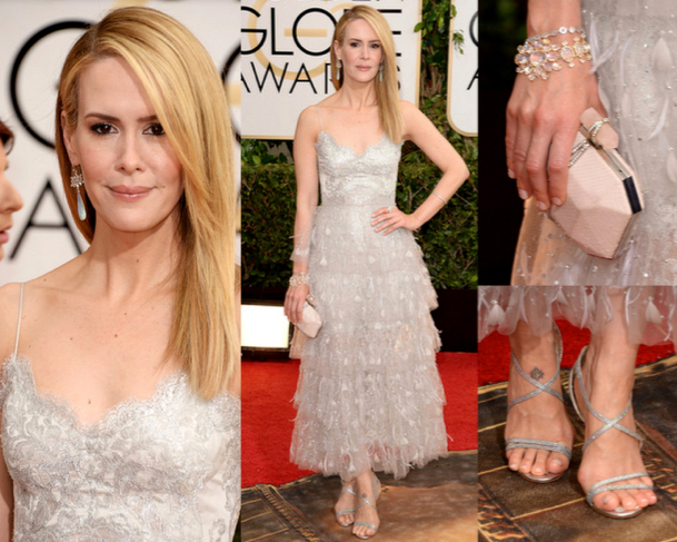 SARAH PAULSON in MARCHESA - 71st ANNUAL GOLDEN GLOBES AWARDS 2014