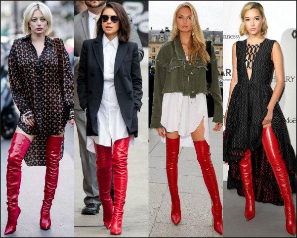 celebrities, models, trend, red boots, boots look, boots style, fendi rockoko