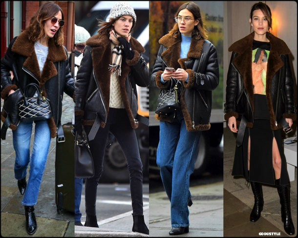 acne, acne studios, alexa chung, celebrity fashion, winter fashion, fashion, jacket, leather jacket, shearling, streetstyle