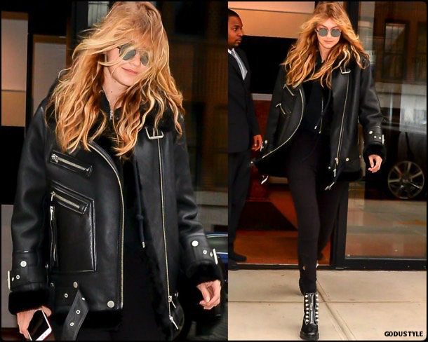 gigi hadid, acne, acne studios, celebrity fashion, winter fashion, fashion, jacket, leather jacket, shearling, streetstyle