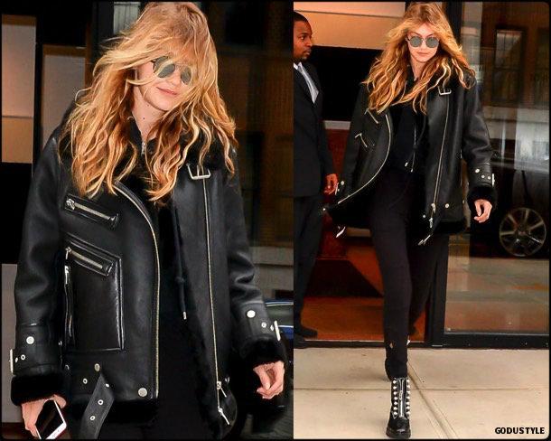 gigi hadid, acne, acne studios, celebrity fashion, winter fashion, fashion, jacket, leather jacket, shearling, streetstyle