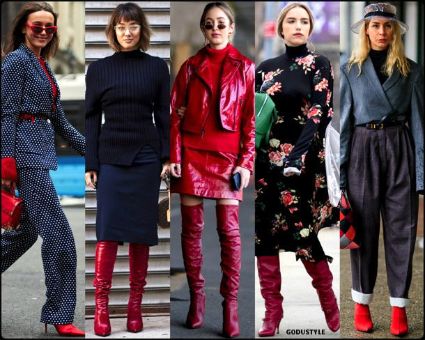 street style, trends, nyfw, fall 2018, red boots, looks, otoño 2018, botas rojas, tendencias, invierno 2019, fashion