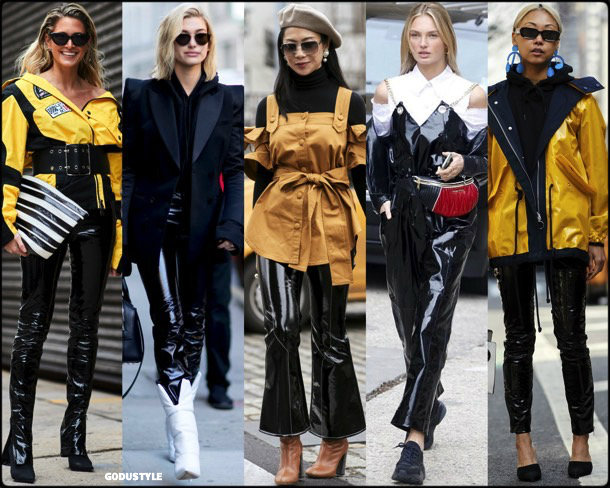 street style, trends, nyfw, fall 2018, vinyl pants, looks, otoño 2018, vinilo, tendencias, invierno 2019, fashion