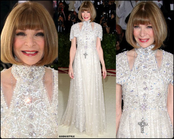 anna wintour, met 2018, gala, fashion, celebrity, look, style, details, celebrities, outfits, red carpet