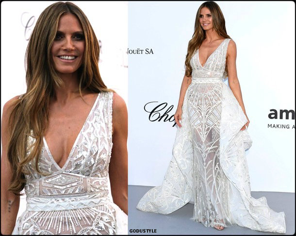 heidi klum, fashion, looks, amfar, cannes 2018, style, party dresses, details, red carpets, celebrities, outfits