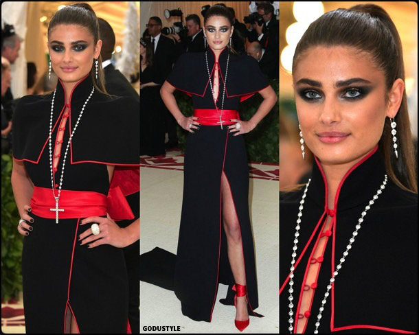 taylor hill, met 2018, gala, fashion, celebrity, look, style, details, celebrities, outfits, red carpet