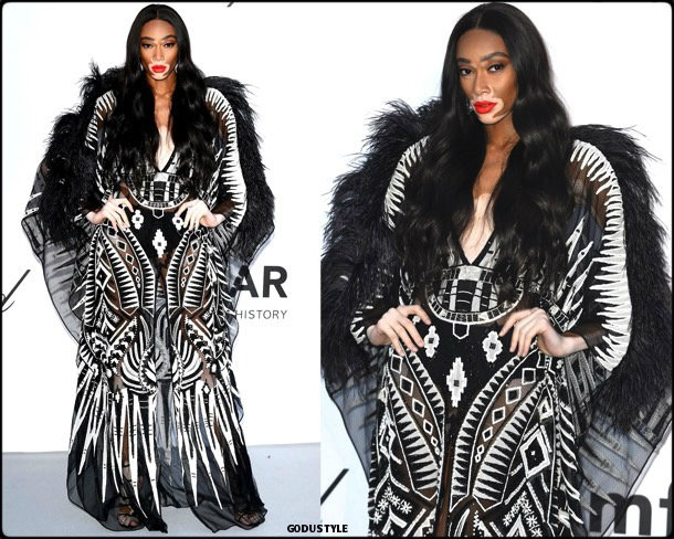 winnie harlow, fashion, looks, amfar, cannes 2018, style, party dresses, details, red carpets, celebrities, outfits