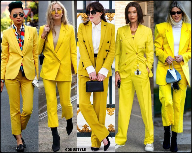 bella hadid, sofie valkiers, yellow, amarillo, looks, street style, fall 2018, trend, details, shopping, tendencias