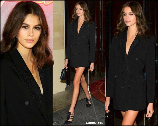 kaia gerber, tuxedo dress, vestido tuxedo, trend, tendencia, vestido fiesta, party dress, shopping look, style, details