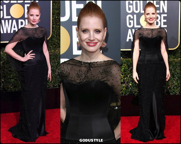 jessica chastain, golden globes, party, looks 2019, red carpets, looks, style, details, fashion, globos oro