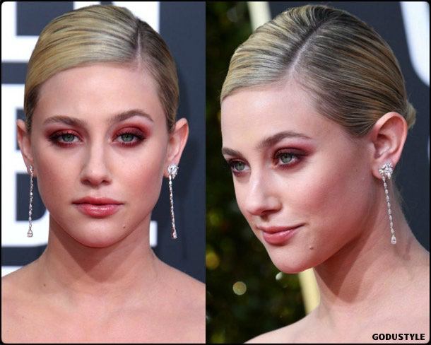 lili reinhart, golden globes, party looks 2019, red carpets, beauty look, style, details, fashion
