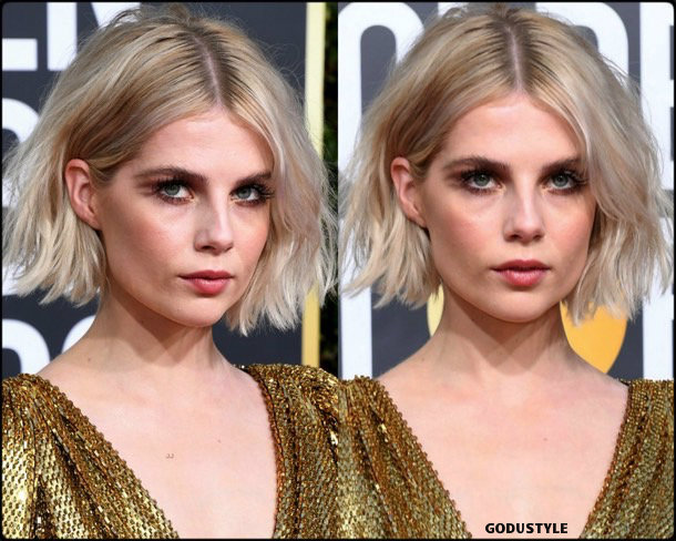 lucy boynton, golden globes, party looks 2019, red carpets, beauty look, style, details, fashion