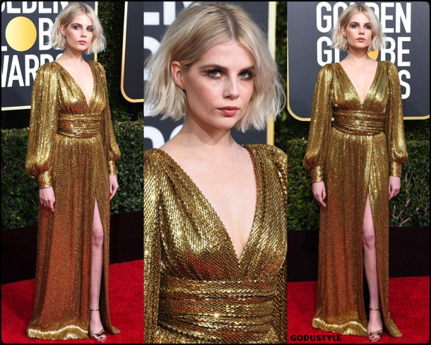 lucy boynton, golden globes, party, looks 2019, red carpets, looks, style, details, fashion, globos oro