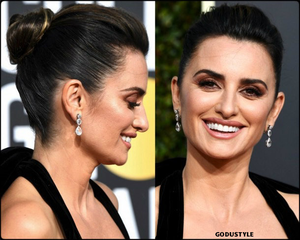 penelope cruz, golden globes, party looks 2019, red carpets, beauty look, style, details, fashion