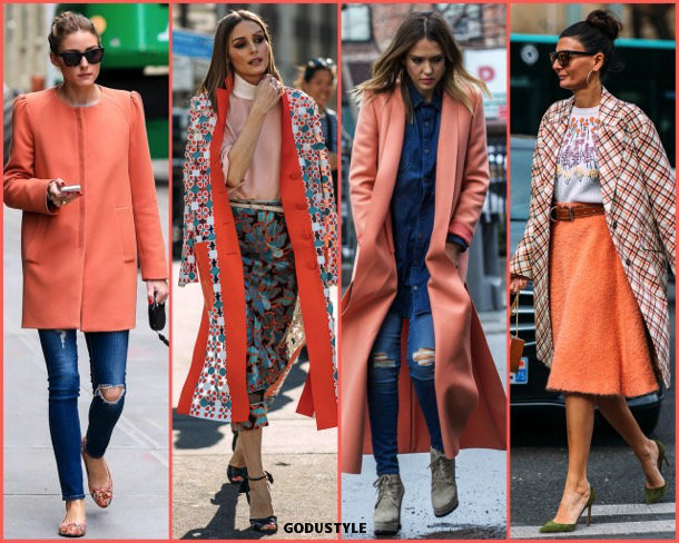 olivia palermo, living coral, color, pantone, 2019, fashion, look, street style, shopping, details, trend, moda, outfit, tendencia