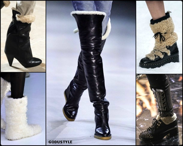 shearling boots, shearling details, fashion, shoes, fall 2019, trends, zåpatos, moda, invierno 2020, tendencias, runway, pasarela