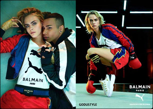 cara delevingne, balmain, puma, look, style, details, athleisure, collection, shopping, balmain puma, capsule collection, moda, sporty chic, celebrities