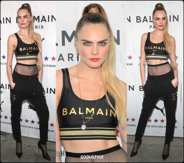 cara delevingne, balmain, puma, look, style, details, athleisure, collection, shopping, balmain puma, capsule collection, moda, sporty chic, celebrities