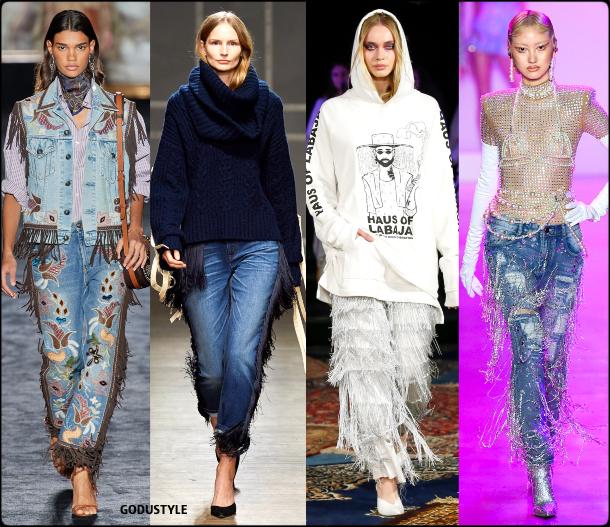 fringe, black, denim, jeans, fall, winter, 2020, 2021, trend, look, style, details, runway, vaqueros, moda, flecos, tendencia, invierno, otoño