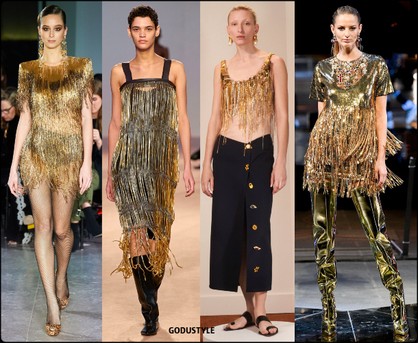 fringe, gold, dress, fall, winter, 2020, 2021, trend, body, jewelry, look, style, details, runway, moda, flecos, vestidos, joya, tendencia, invierno, otoño