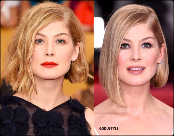 rosamund pike, wavy bob, straight bob, fashion, bob, hairstyle, fall, 2020, winter, 2021, hair, trend, beauty, look, style, details, moda, tendencia, peinado, corte pelo