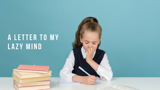 Young girl Writing letter to her Mind