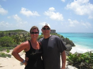 Ashley Mott and her husband honeymooning at the Mayan Ruins of Tulum.