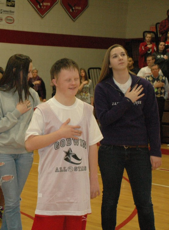 "Owen Hicks during the ""National Anthem."""