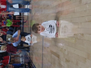 Walker crawling across the court.