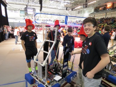 Bhargav Satish (l) and Cole Powell (r) with the robot