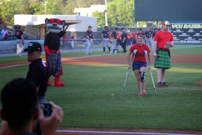 Alex Carrol walks off the field