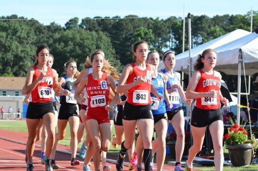 Godwin girls' track running the 3200 meter